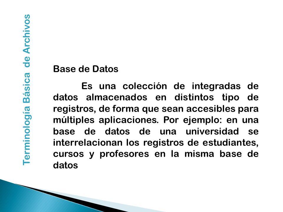 Base de Datos Es una colección de integradas de datos almacenados en distintos tipo de registros, de forma que sean accesibles para múltiples aplicaci