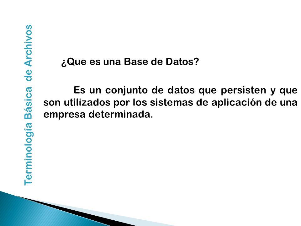 ¿Que es una Base de Datos? Es un conjunto de datos que persisten y que son utilizados por los sistemas de aplicación de una empresa determinada. Termi