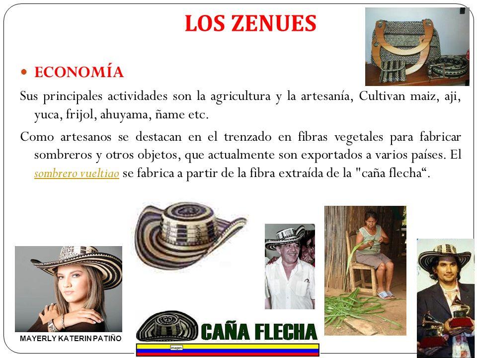 LOS ZENUES ECONOMÍA Sus principales actividades son la agricultura y la artesanía, Cultivan maiz, aji, yuca, frijol, ahuyama, ñame etc. Como artesanos