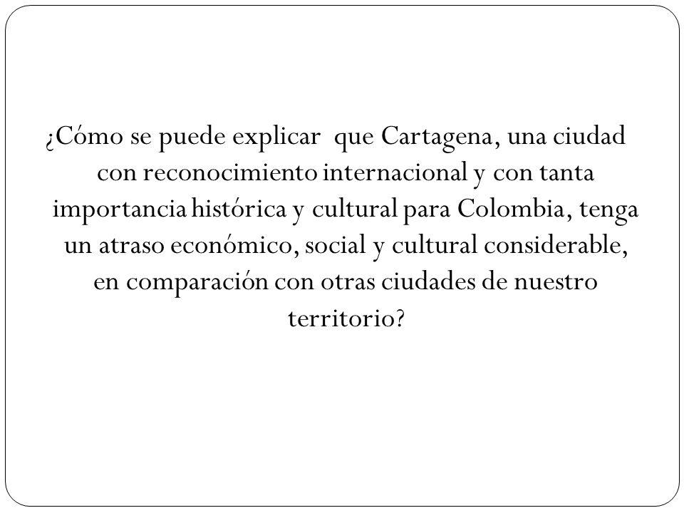 ¿Cómo se puede explicar que Cartagena, una ciudad con reconocimiento internacional y con tanta importancia histórica y cultural para Colombia, tenga u