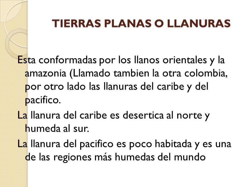 TIERRAS PLANAS O LLANURAS Esta conformadas por los llanos orientales y la amazonia (Llamado tambien la otra colombia, por otro lado las llanuras del c