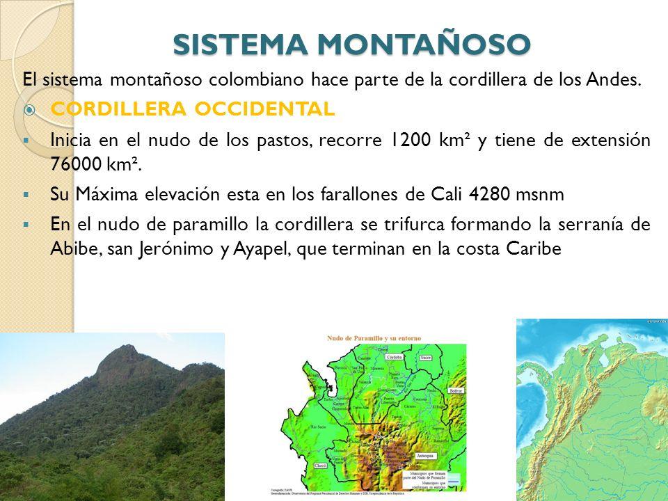 El sistema montañoso colombiano hace parte de la cordillera de los Andes. CORDILLERA OCCIDENTAL Inicia en el nudo de los pastos, recorre 1200 km² y ti