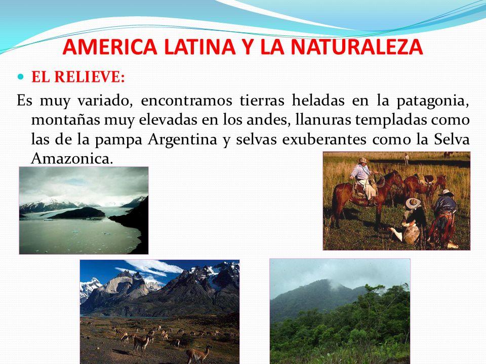 AMERICA LATINA Y LA NATURALEZA CONTRASTES CLIMATICOS Existen ambientes cálidos de las zonas tropicales, fríos intensos de las zonas polares y la variedad térmica de las cordilleras.