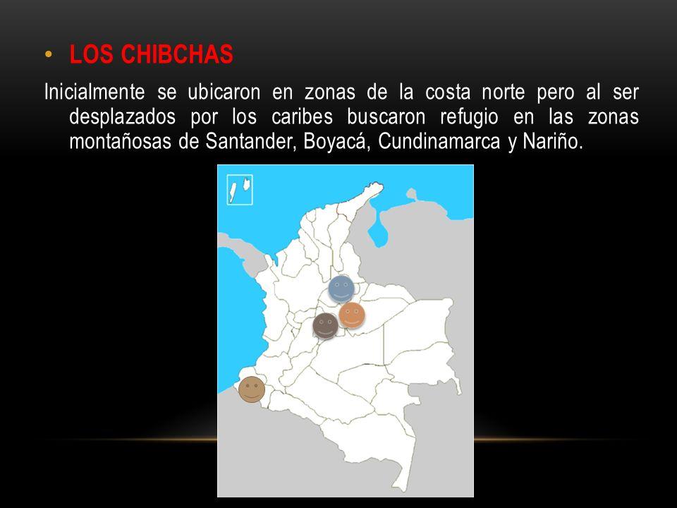 GRUPOS PERTENECIENTES A LA FAMILIA LINGÜÍSTICA CHIBCHA LOS MUISCAS Comúnmente conocidos como Chibchas, habitaron en el Altiplano Cundiboyacense.
