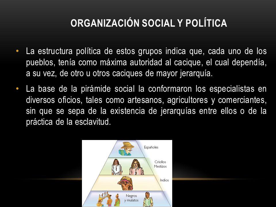 ORGANIZACIÓN SOCIAL Y POLÍTICA La estructura política de estos grupos indica que, cada uno de los pueblos, tenía como máxima autoridad al cacique, el cual dependía, a su vez, de otro u otros caciques de mayor jerarquía.