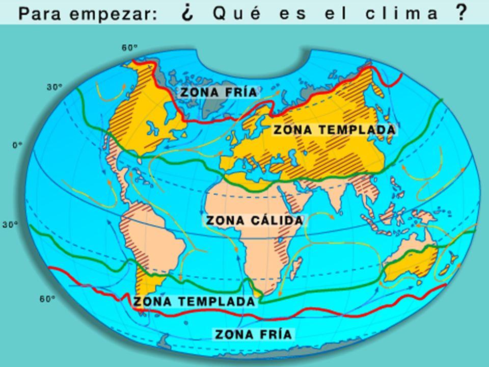 CLIMA Y TIEMPO ATMOSFERCICO El clima es el conjunto de características meteorológicas (temperaturas y precipitaciones) que se dan en una superficie muy extensa durante un período largo de tiempo.