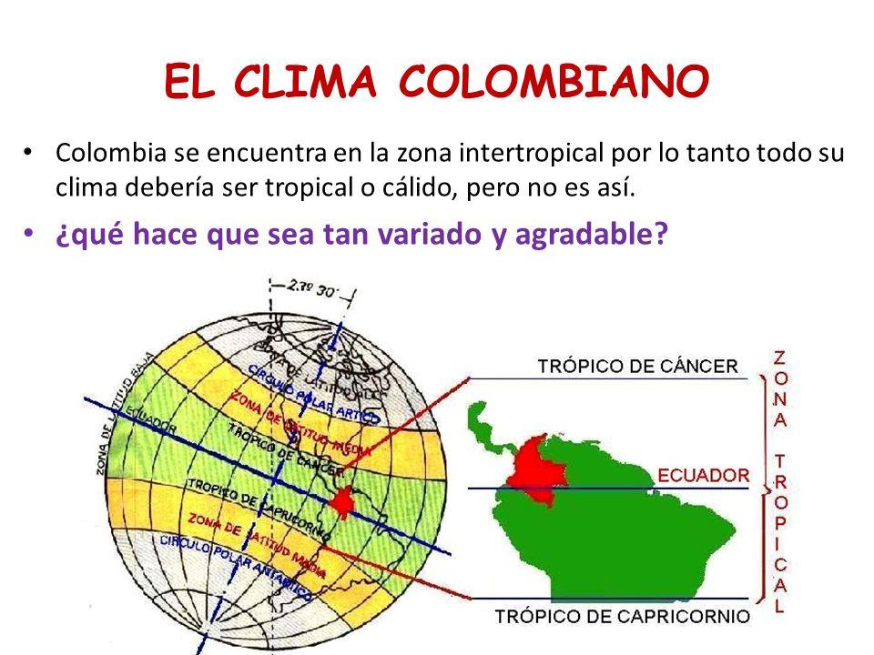 CLIMA DE COLOMBIA CLIMA DESERTICO Y ESTEPA CLIMA DE SABANA CLIMA HUMEDO DE SELVA CLIMA HUMEDO DE SELVA CLIMA DE MONTAÑA Características Esta dividido en Abundantes lluvias Temperaturas de 24- 30 Vegetación selvática Abundantes lluvias Temperaturas de 24- 30 Vegetación selvática Época seca y otra húmeda Temperatura superior a 24 Vegetación de pastos y bosque de galería Época seca y otra húmeda Temperatura superior a 24 Vegetación de pastos y bosque de galería Altas temp… y pocas lluvias.