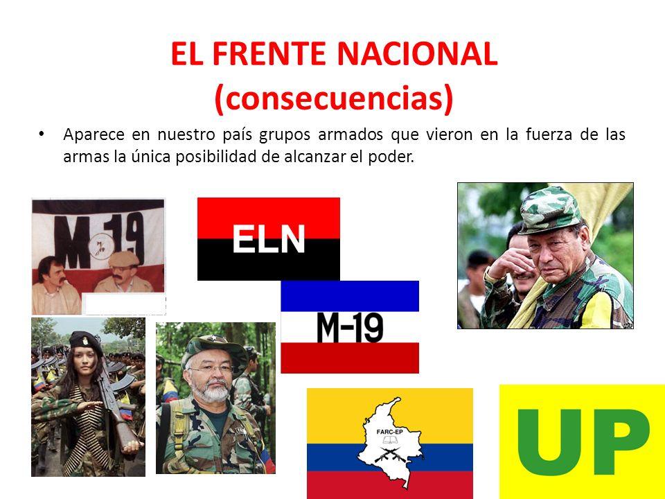 EL FRENTE NACIONAL (consecuencias) Aparece en nuestro país grupos armados que vieron en la fuerza de las armas la única posibilidad de alcanzar el pod
