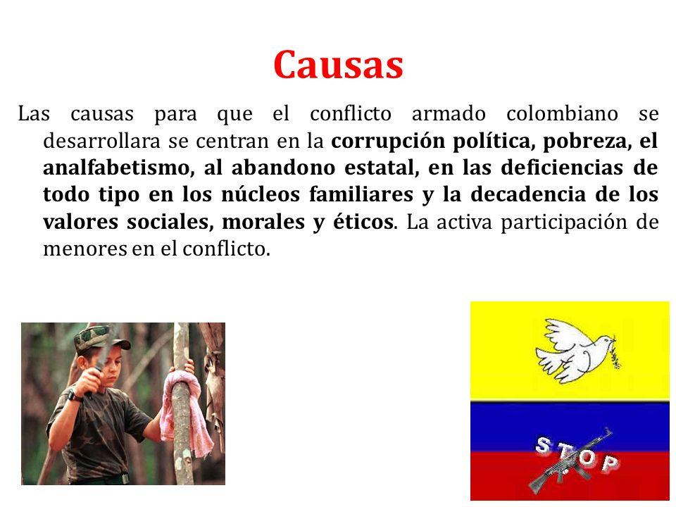 Causas Las causas para que el conflicto armado colombiano se desarrollara se centran en la corrupción política, pobreza, el analfabetismo, al abandono