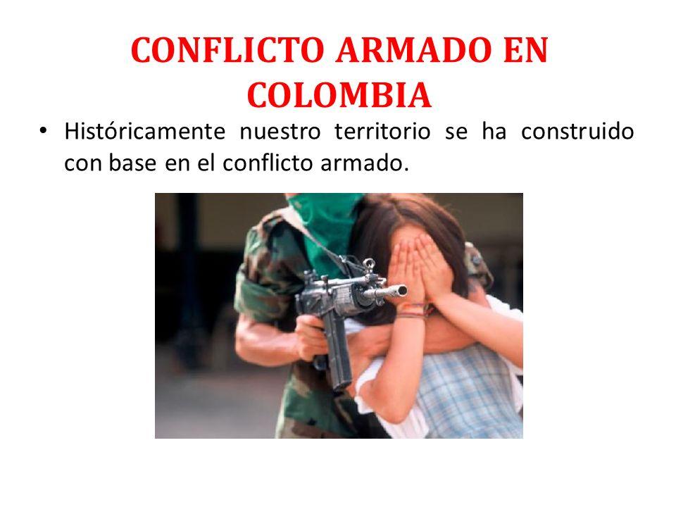 CONFLICTO ARMADO EN COLOMBIA Históricamente nuestro territorio se ha construido con base en el conflicto armado.