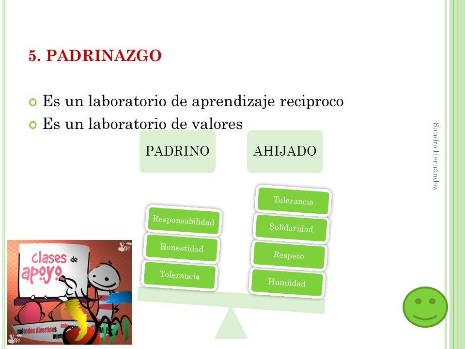 5. PADRINAZGO Es un laboratorio de aprendizaje reciproco Es un laboratorio de valores PADRINOAHIJADO HumildadRespetoSolidaridadTolerancia HonestidadRe