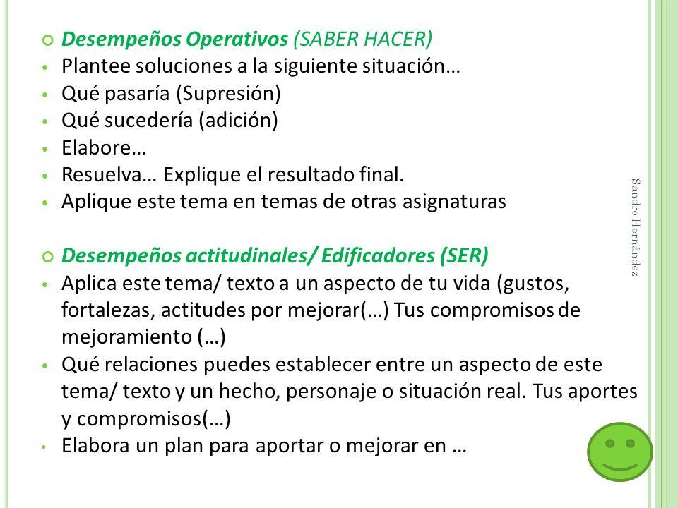Desempeños Operativos (SABER HACER) Plantee soluciones a la siguiente situación… Qué pasaría (Supresión) Qué sucedería (adición) Elabore… Resuelva… Ex