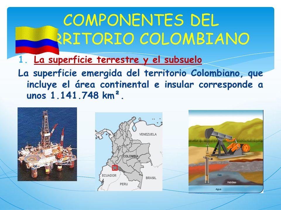 COMPONENTES DEL TERRITORIO COLOMBIANO 1.La superficie terrestre y el subsuelo La superficie emergida del territorio Colombiano, que incluye el área co
