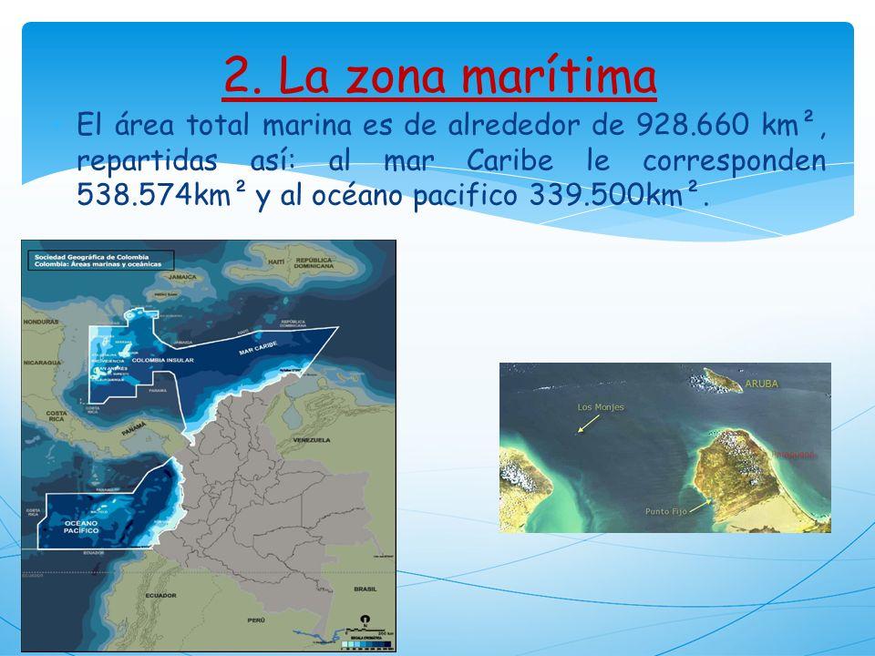 2. La zona marítima El área total marina es de alrededor de 928.660 km², repartidas así: al mar Caribe le corresponden 538.574km² y al océano pacifico