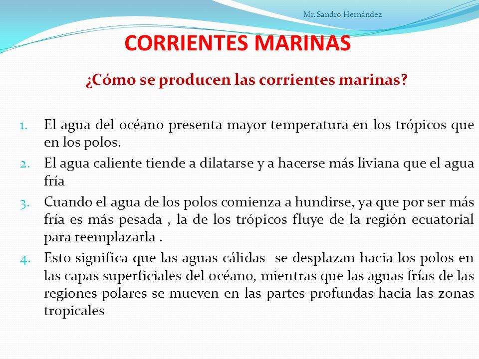CORRIENTES MARINAS ¿Cómo se producen las corrientes marinas.