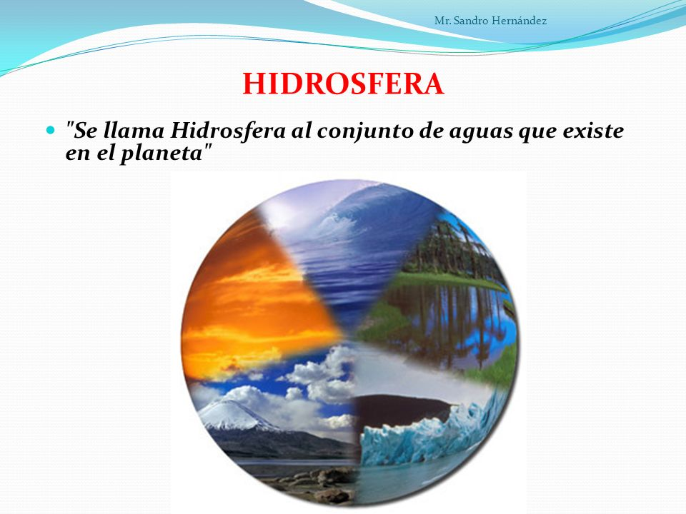 HIDROSFERA Se llama Hidrosfera al conjunto de aguas que existe en el planeta Mr. Sandro Hernández