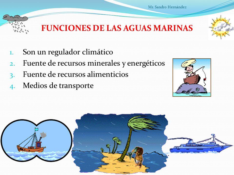 FUNCIONES DE LAS AGUAS MARINAS 1.Son un regulador climático 2.