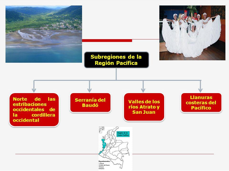 Subregiones de la Región Pacífica Norte de las estribaciones occidentales de la cordillera occidental Serranía del Baudó Valles de los ríos Atrato y S