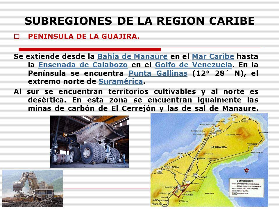 SUBREGIONES DE LA REGION CARIBE PENINSULA DE LA GUAJIRA. Se extiende desde la Bahía de Manaure en el Mar Caribe hasta la Ensenada de Calabozo en el Go