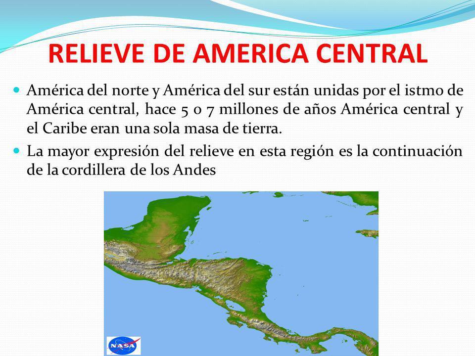 RELIEVE DE AMERICA CENTRAL América del norte y América del sur están unidas por el istmo de América central, hace 5 o 7 millones de años América centr