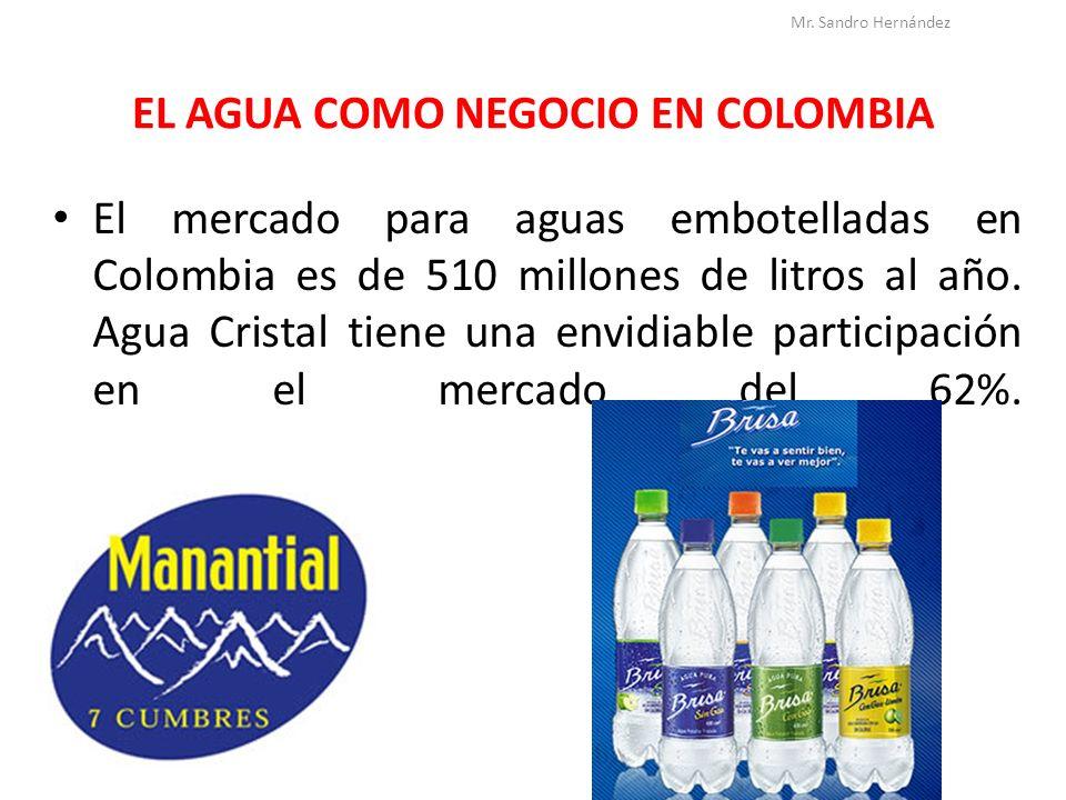 EL AGUA COMO NEGOCIO EN COLOMBIA El mercado para aguas embotelladas en Colombia es de 510 millones de litros al año. Agua Cristal tiene una envidiable