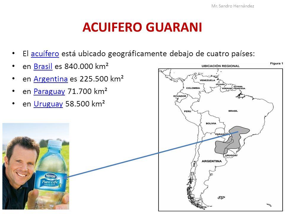 ACUIFERO GUARANI El acuífero está ubicado geográficamente debajo de cuatro países:acuífero en Brasil es 840.000 km²Brasil en Argentina es 225.500 km²A
