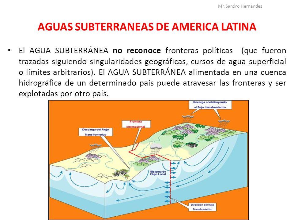 AGUAS SUBTERRANEAS DE AMERICA LATINA El AGUA SUBTERRÁNEA no reconoce fronteras políticas (que fueron trazadas siguiendo singularidades geográficas, cu