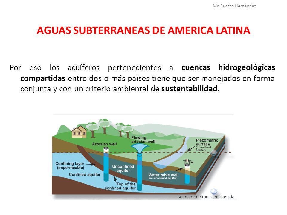AGUAS SUBTERRANEAS DE AMERICA LATINA ACUIFERO GUARANI El acuífero guaraní es una reserva subterránea transfronteriza de agua, que subyace el territorio ocupando aproximadamente 1.200.000 km² en el sudeste de América del Sur.reserva subterráneaaguakm²América del Sur Mr.