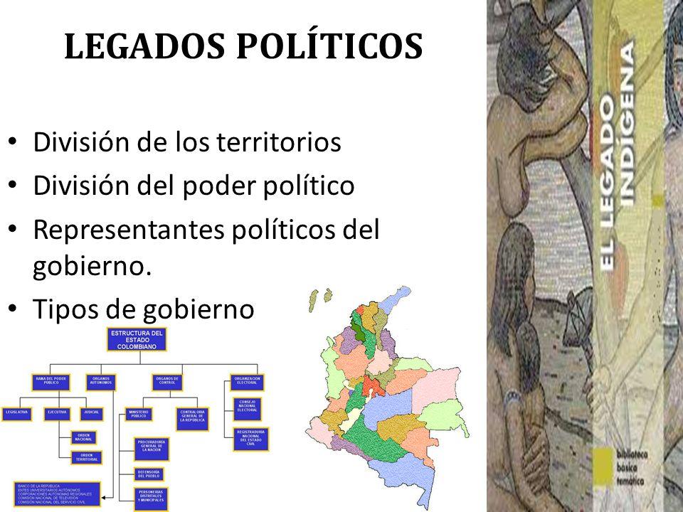 LEGADOS POLÍTICOS División de los territorios División del poder político Representantes políticos del gobierno. Tipos de gobierno