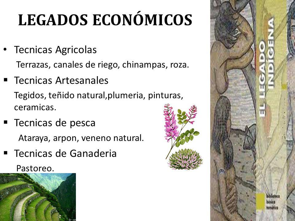 LEGADOS ECONÓMICOS Tecnicas Agricolas Terrazas, canales de riego, chinampas, roza. Tecnicas Artesanales Tegidos, teñido natural,plumeria, pinturas, ce
