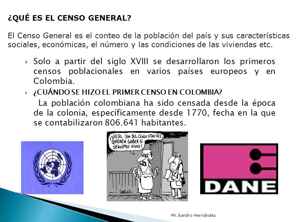 Solo a partir del siglo XVIII se desarrollaron los primeros censos poblacionales en varios países europeos y en Colombia. ¿CUÁNDO SE HIZO EL PRIMER CE
