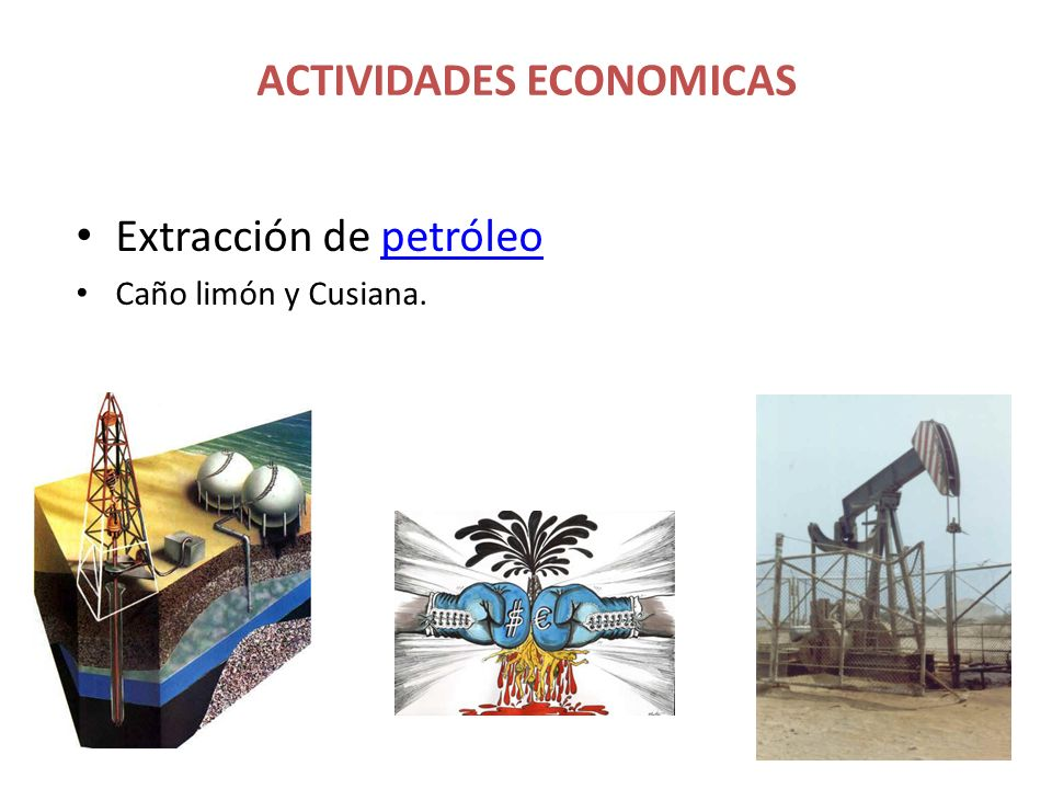 Extracción de petróleopetróleo Caño limón y Cusiana. ACTIVIDADES ECONOMICAS