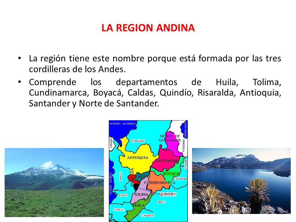 LA REGION ANDINA La región tiene este nombre porque está formada por las tres cordilleras de los Andes. Comprende los departamentos de Huila, Tolima,