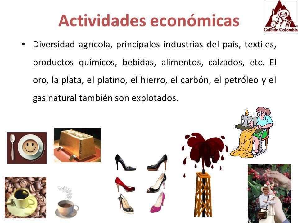 Actividades económicas Diversidad agrícola, principales industrias del país, textiles, productos químicos, bebidas, alimentos, calzados, etc. El oro,