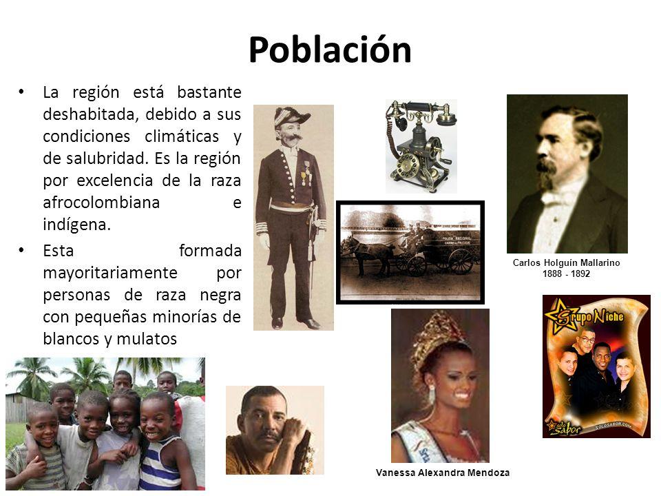 Población La región está bastante deshabitada, debido a sus condiciones climáticas y de salubridad. Es la región por excelencia de la raza afrocolombi