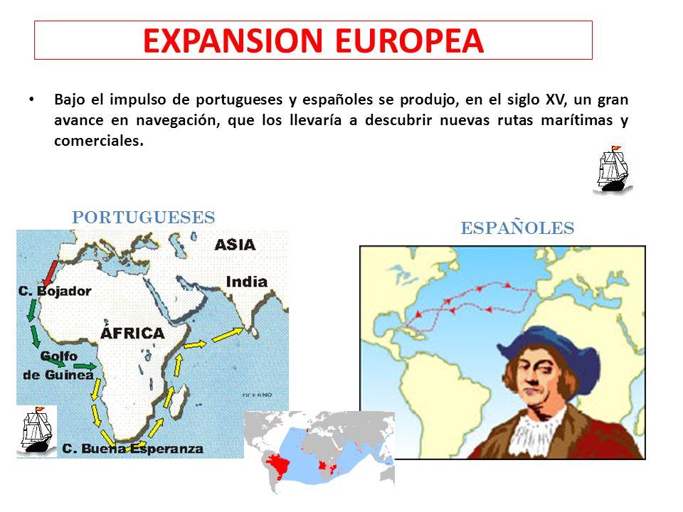 EXPANSION EUROPEA Bajo el impulso de portugueses y españoles se produjo, en el siglo XV, un gran avance en navegación, que los llevaría a descubrir nu