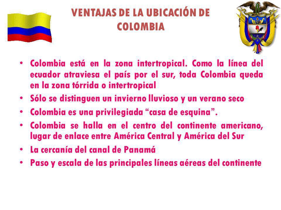VENTAJAS DE LA UBICACIÓN DE COLOMBIA Colombia está en la zona intertropical. Como la línea del ecuador atraviesa el país por el sur, toda Colombia que