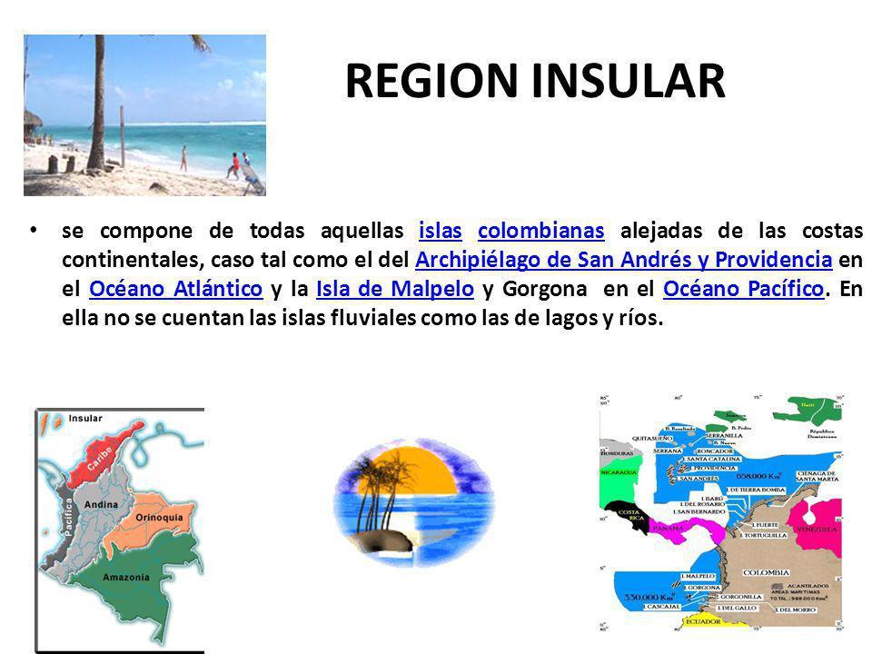 REGION INSULAR se compone de todas aquellas islas colombianas alejadas de las costas continentales, caso tal como el del Archipiélago de San Andrés y