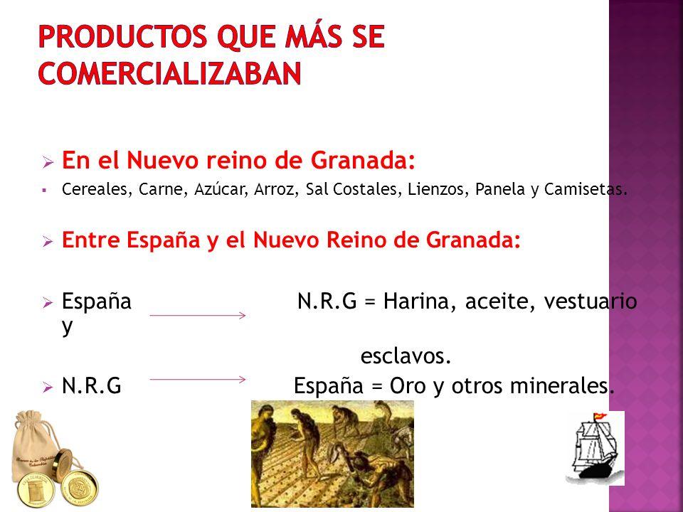En el Nuevo reino de Granada: Cereales, Carne, Azúcar, Arroz, Sal Costales, Lienzos, Panela y Camisetas. Entre España y el Nuevo Reino de Granada: Esp