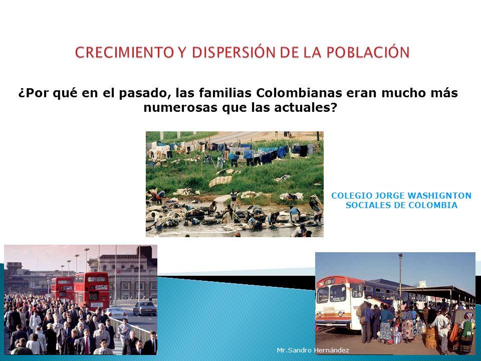 COLEGIO JORGE WASHIGNTON SOCIALES DE COLOMBIA ¿Por qué en el pasado, las familias Colombianas eran mucho más numerosas que las actuales.