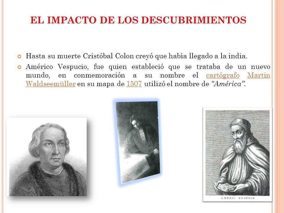 EL IMPACTO DE LOS DESCUBRIMIENTOS Hasta su muerte Cristóbal Colon creyó que había llegado a la india. Américo Vespucio, fue quien estableció que se tr