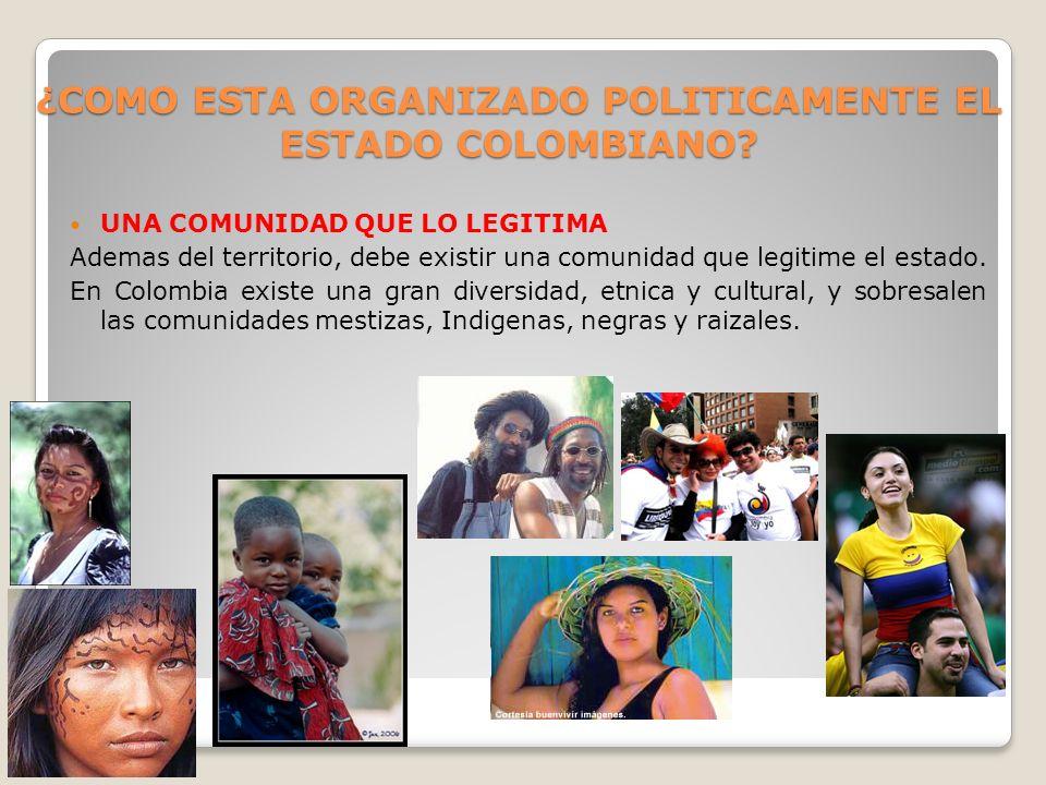 ¿COMO ESTA ORGANIZADO POLITICAMENTE EL ESTADO COLOMBIANO? UNA COMUNIDAD QUE LO LEGITIMA Ademas del territorio, debe existir una comunidad que legitime