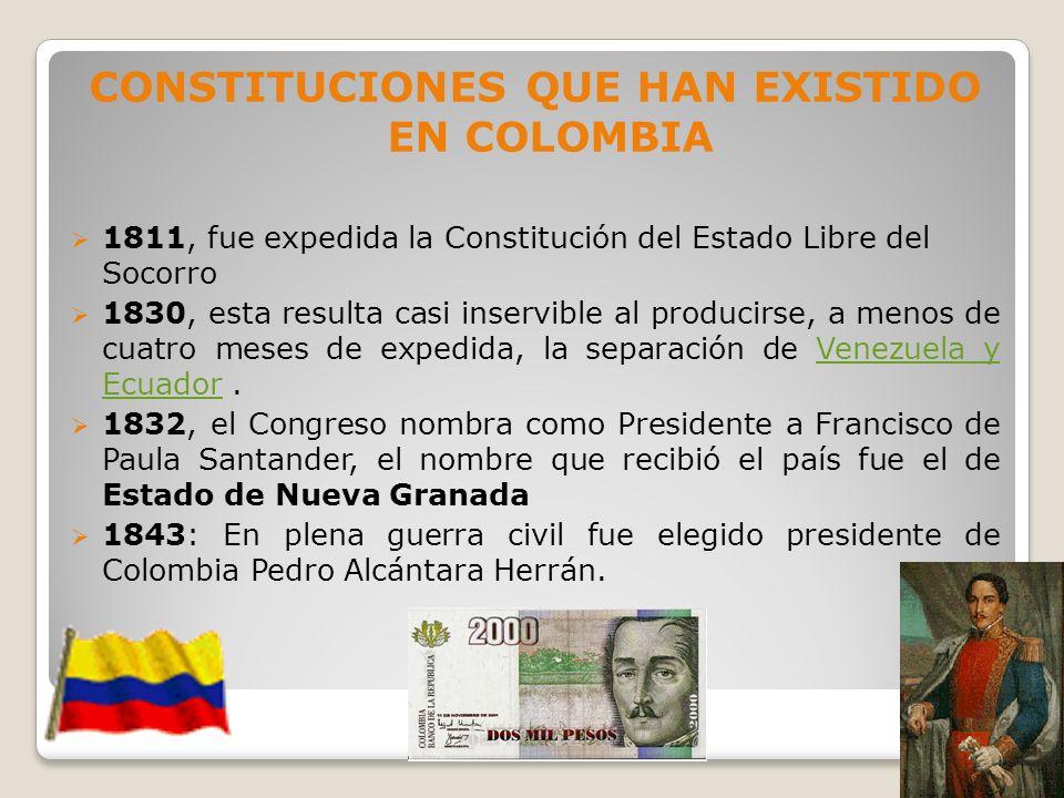 CONSTITUCIONES QUE HAN EXISTIDO EN COLOMBIA 1811, fue expedida la Constitución del Estado Libre del Socorro 1830, esta resulta casi inservible al prod