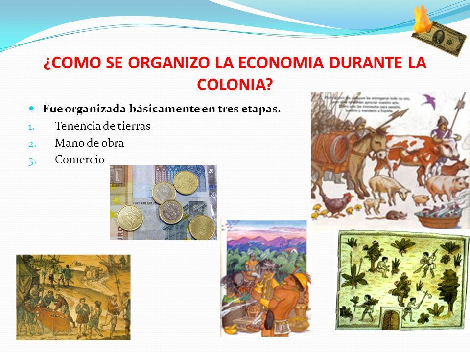 ¿COMO SE ORGANIZO LA ECONOMIA DURANTE LA COLONIA? Fue organizada básicamente en tres etapas. 1. Tenencia de tierras 2. Mano de obra 3. Comercio