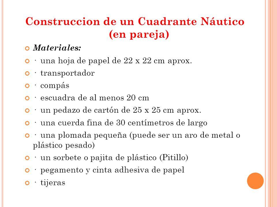 Construccion de un Cuadrante Náutico (en pareja) Materiales: · una hoja de papel de 22 x 22 cm aprox.