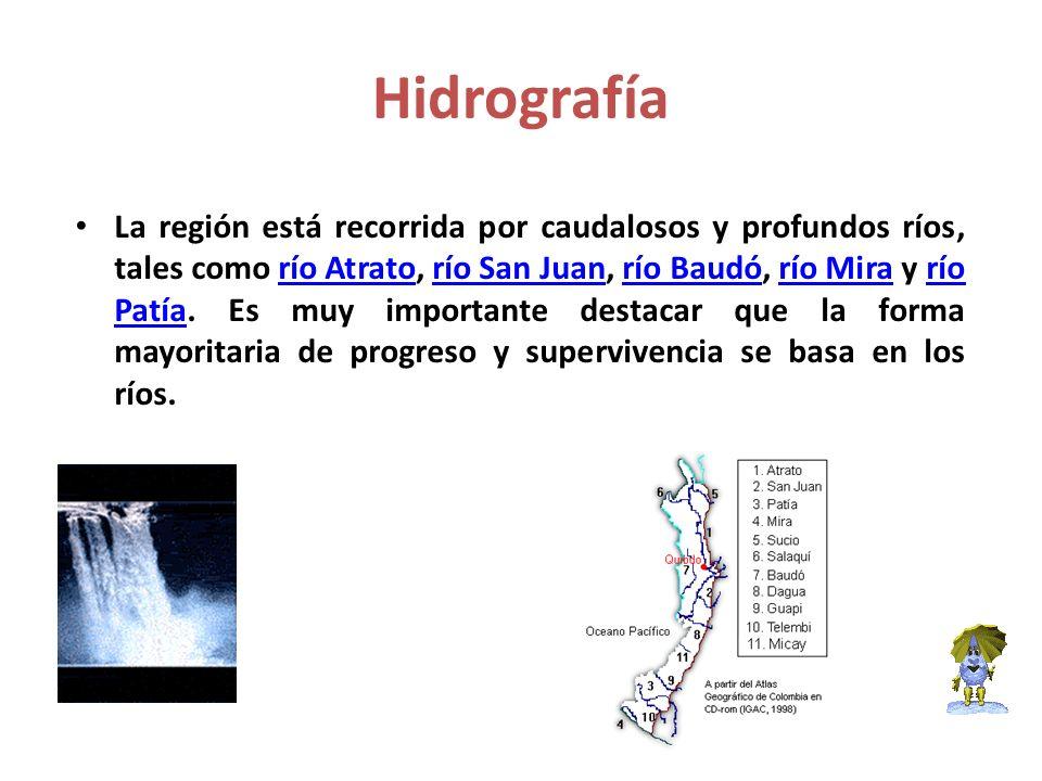 Hidrografía La región está recorrida por caudalosos y profundos ríos, tales como río Atrato, río San Juan, río Baudó, río Mira y río Patía. Es muy imp
