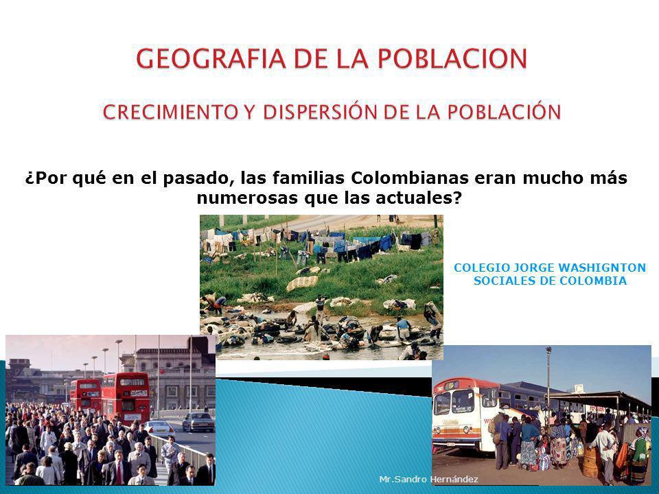 COLEGIO JORGE WASHIGNTON SOCIALES DE COLOMBIA ¿Por qué en el pasado, las familias Colombianas eran mucho más numerosas que las actuales? Mr.Sandro Her