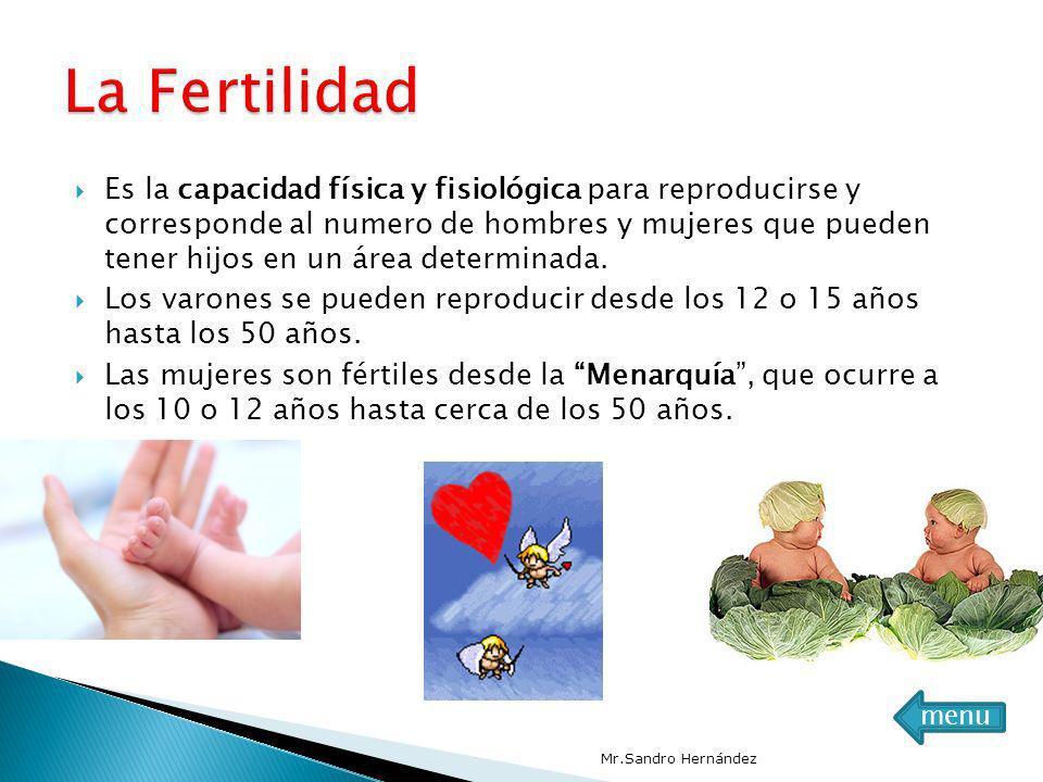 Es la capacidad física y fisiológica para reproducirse y corresponde al numero de hombres y mujeres que pueden tener hijos en un área determinada. Los