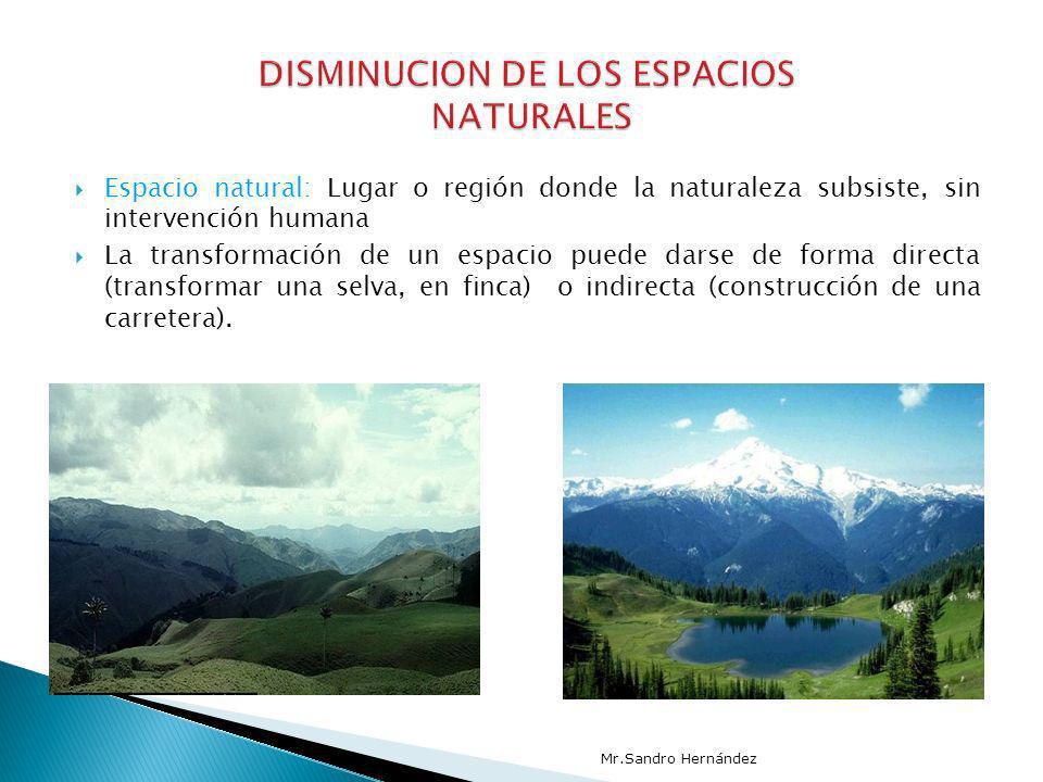 Espacio natural: Lugar o región donde la naturaleza subsiste, sin intervención humana La transformación de un espacio puede darse de forma directa (tr
