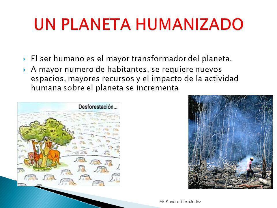 El ser humano es el mayor transformador del planeta. A mayor numero de habitantes, se requiere nuevos espacios, mayores recursos y el impacto de la ac